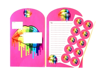 Rainbow Lips Stationery 